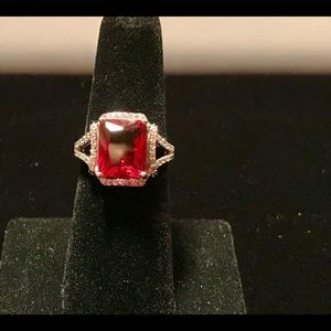 925 Silver Rings Emerald Cut Garnet  Ring Size 6